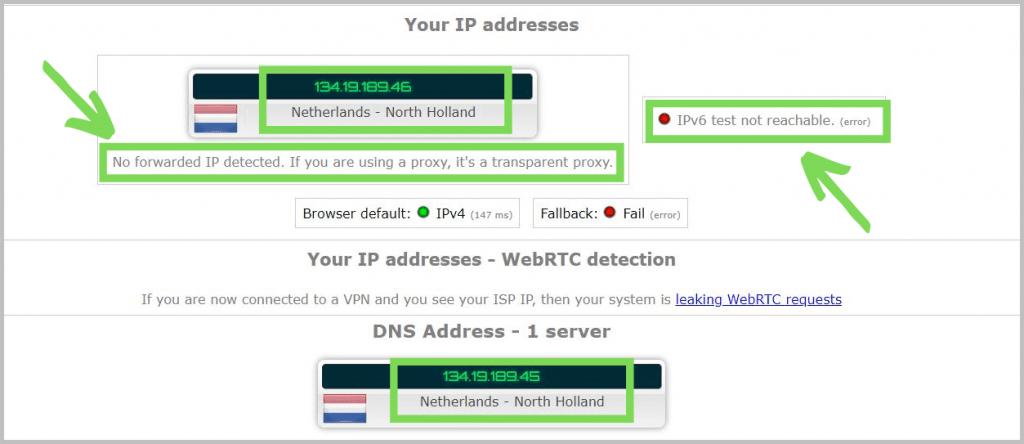 Leak test for NordVPN