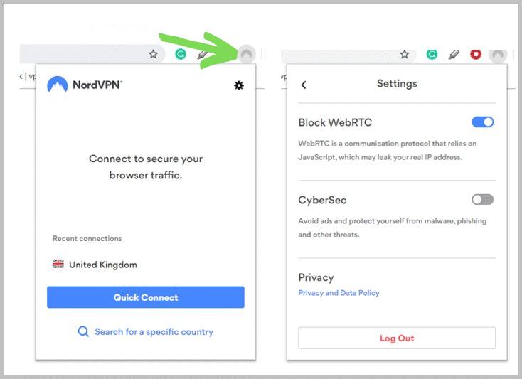 NordVPN browser extension