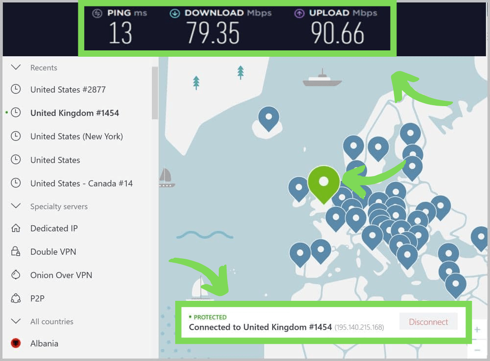 NordVPN connected to a UK server