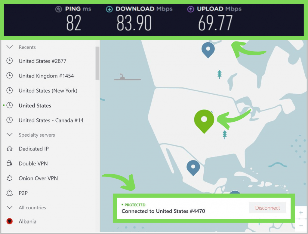 NordVPN connected to a US server. Showing ping, download, and upload speeds.