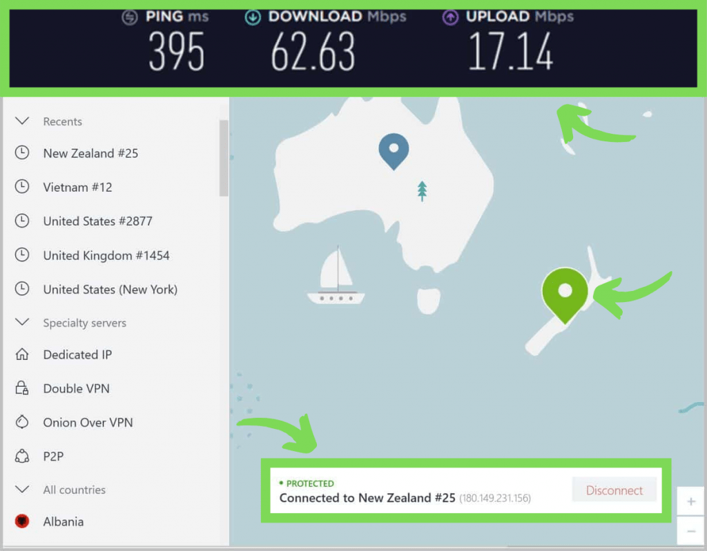 NordVPN connected to a server in New Zealand. Showing ping, download, and upload speeds.
