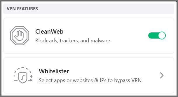 Surfshark VPN features.