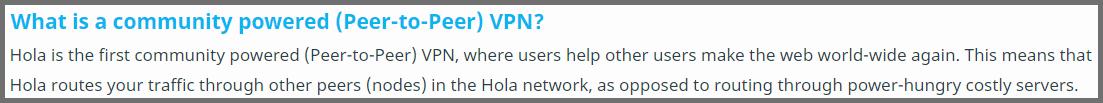 Screenshot of Hola\'s Peer-to-peer VPN explanation
