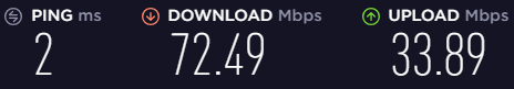 Screenshots of speeds before connecting to a VPN