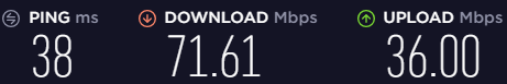 Screenshot of Hola\'s speed test for a UK server