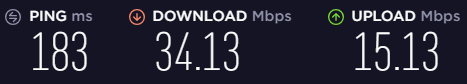 Screenshot of Hola\'s speed test on a US server.